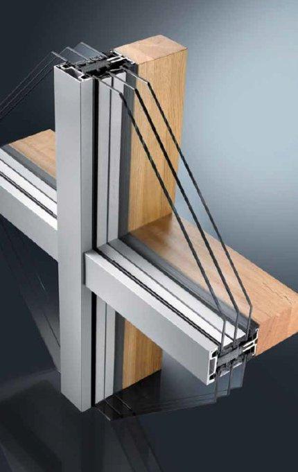 Facciata continua legno alluminio